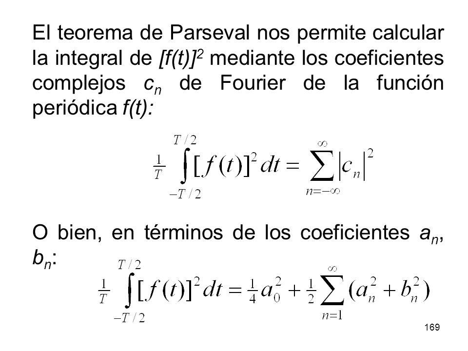 El teorema de Parseval nos permite calcular la integral de [f(t)]2 mediante los coeficientes complejos cn de Fourier de la función periódica f(t):